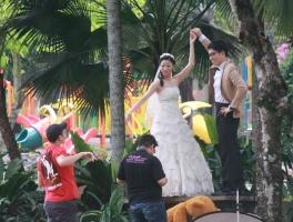 und im Park vor dem Butterflypark werden Hochzeitsbilder aufgenommen