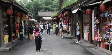 Jinli Street - ein typisch chinesischer Stadtteil (nachgebaut - aber gut gelungen - nette Atmosphäre dort)