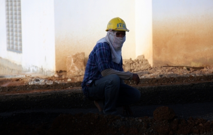 Straßenbauarbeiter - auch mal vermummt