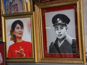 """Die Helden des Landes (Nobelpreisträgerin """"Aung San Suu Kyi"""" ist im Westen gut bekannt)"""