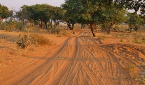 Botswana, Land der Sandpisten. Fahren auf Sand muss man erst mal lernen.